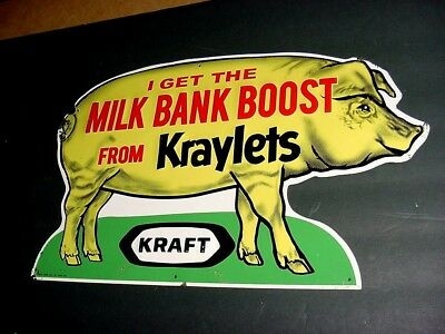 VERY NICE 1950s Vintage KRAFT KRAYLETS PIG FEED Old Country Store Tin Sign