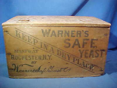 19thc WARNERS SAFE YEAST Wood ADVERTISING Shipping BOX