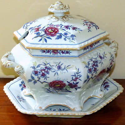 Regency Ridgway Stoneware Hand-Painted and Gilded 3-Piece Tureen