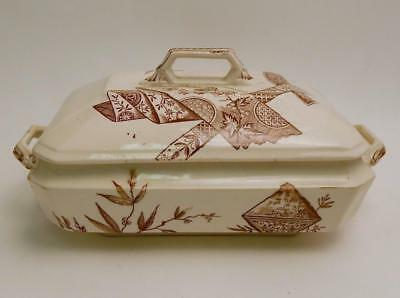 Antique 1883 Aesthetic Brown Transfer Transferware Ironstone Tureen with Lid