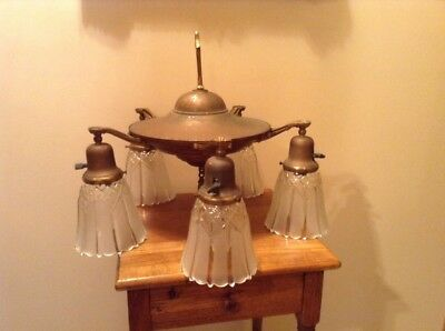 Antique vintage brass 5 light chandelier with glass shades