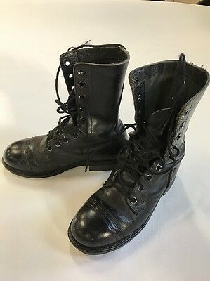 Authentic Steel Toe Combat Vintage Military Black Leather Boots 7m