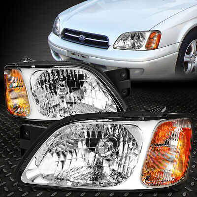 For 2000-2004 Subaru Legacy Pair Chrome Housing Amber Corner Headlight/lamp Set