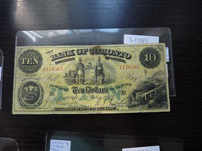 Vintage Canada Banknote 1929 10 Dollars Bank Of Toronto Cat Value  110.00  S1085
