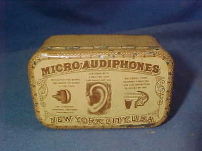 1880s MICRO AUDIPHONES Hearing Aid ADVERTISING TIN