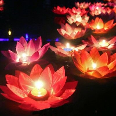 Floating Lotus Flower Candle Night Light Lamp Tea Light Valentine's Day Gift=