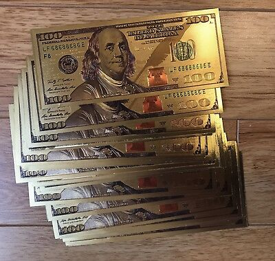 ✯ $100 ✯ Gold Leaf ✯ Note Dollar Bill Currency ✯ Cash Money Novelty ✯ Fun Free ✯