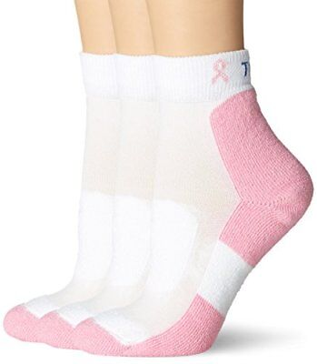 Thorlo Women's Everyday Walker Sock 3 Pack, White/Pink, 10