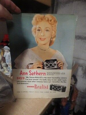 VINTAGE 1950'S CAMERA STORE DISPLAY stereo realist camera ANN SOTHERN UNUSED