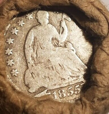 Unsearched wheat cent roll - 1855 half dime with arrows & flying eagle ends