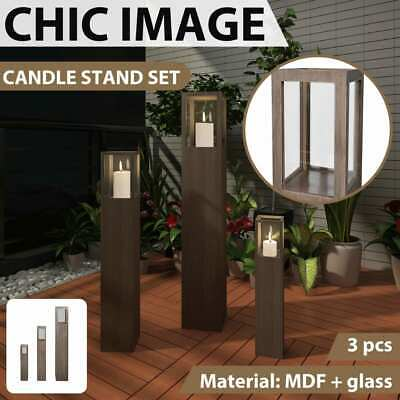 New 3pc Garden Candle Stand Wooden Holder Wedding Lighting Outdoor Torch 3 Size