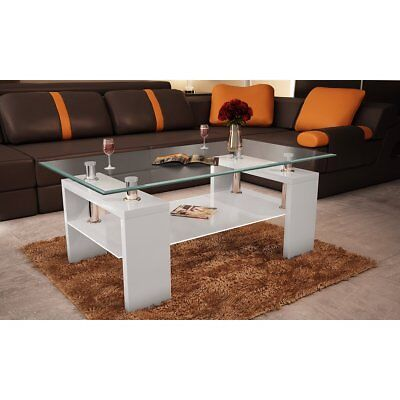 White Coffee Table High Gloss Glass Top 2 Tiers Modern Design Furniture Bedside