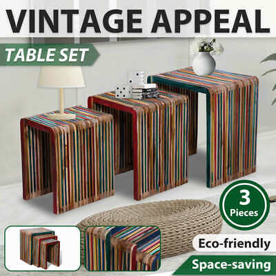 New 3pc Reclaimed Teak Timber Nesting Bedside Table Coffee Side Stackable Lounge