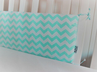 Gooseberry Baby Cot Crib Bumper Cotton Mint & White Chevron 210 x 30 cm
