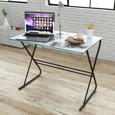 Modern Tempered Glass Computer Student Desk World Map Pattern Home Office Work
