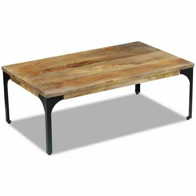 vidaXL Mango Wood Side Coffee Table Steel Frame Living Room Furniture Industrial
