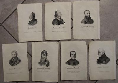 Polish Rulers Poland 1831 Wagner & Others Set Of Seven Antique Portraits