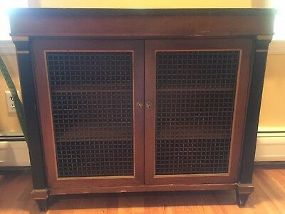 Antique Wood Cabinet, Black Marble Top, 2 Shelves - Pickup Only NYC Area