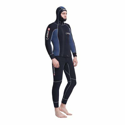 5mm Men 2PCs Sleeveless Wetsuit Hooded Diving Suit Watersports Surf Sailing HT