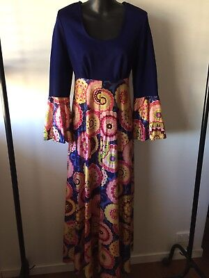 Vintage Maxi Dress Psychedelic 70s Made In NZ Size 12