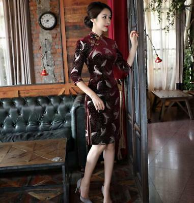 Women Wine Red Velvet 1/2 Sleeve Sexy Vintage Printed Banquet Party Dress M~4XL