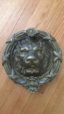 Vintage Antique Style Hand Made Solid Brass Lion Door Knocker
