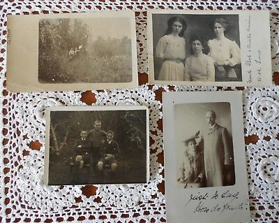 Lot Of 4 X Vintage Real Family Photograph Postcards C1907