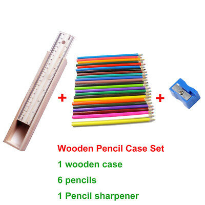 Wooden School Pencil Case Holder Set Ruler 6x Coloured Pencils 1x Sharpener Art