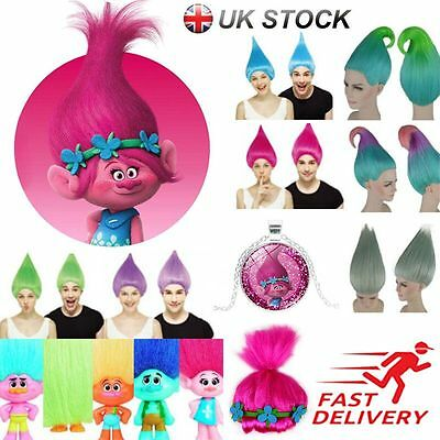 Adult/Kids Wigs Trolls Poppy Wig Elf/Pixie Princess Colourful Cosplay Party Lot