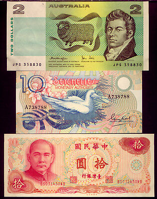 AUSTRALIA & SEYCHELLES & CHINA: 3 BANK-NOTES  UNC  and   NO RESERVE