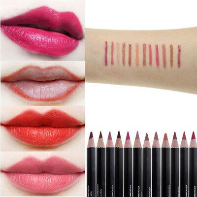 12 Farben Mode Damen Lippenstift Stift Lip Liner Pencil Wasserfest Make Up