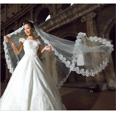 Lace Graceful Flower EdgeBride Wedding Mantilla Bridal Long Veils White2LayerHG