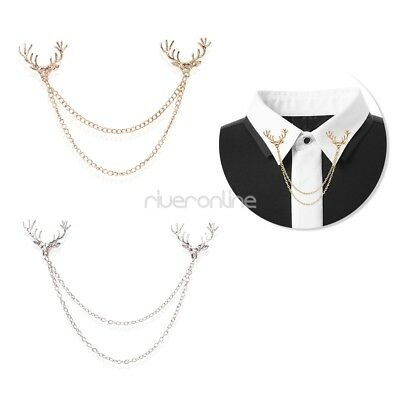 Shirts Collar Neck Tips Tassels Elk Reindeer Head Brooch Pin Chains Party Punk