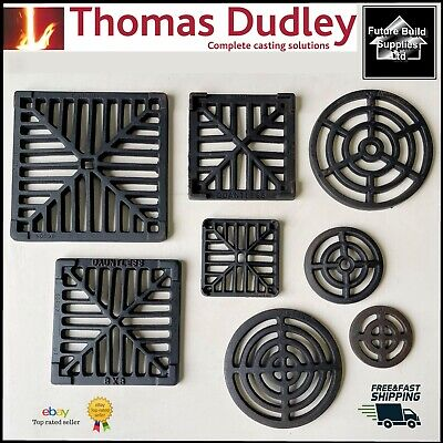 Square Dish Round Cast Iron Gully Grid Grate Heavy Duty Drain Cover Black Finish