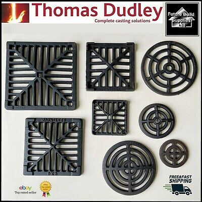 Square Round Cast Iron Gully Grid Grate Heavy Duty Drain Cover Black Finish