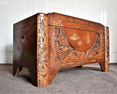 Antique style oriental carved camphor wood blanket box - coffer chest