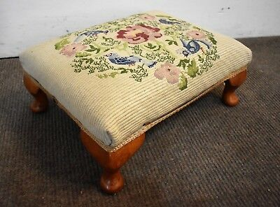 Antique vintage pretty embroidery footstool - foot stool