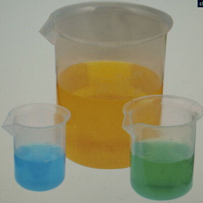 Polypropylene Beakers Measuring Squat 2 pack 50ml 100ml 250ml 500ml 1000ml