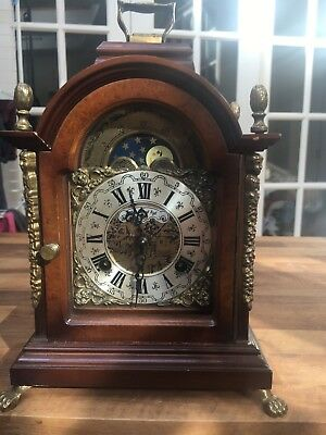 Vintage Dutch Warmink mantle/bracket clock with moon phase dial