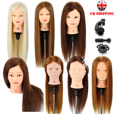 100% Real Human Hair Training head Hairdressing cutting Mannequin Doll + Clamp
