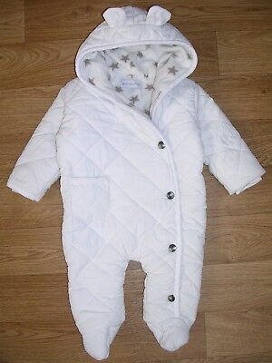 EARLY DAY Boys White Quilted Fleece Lined SNOWSUIT Winter Coat Age 3-6m