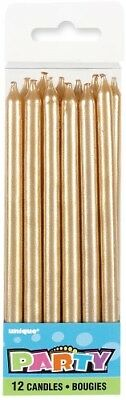 Tall Gold Candles Pack Of 12 Birthday Party Supplies Cake Topper