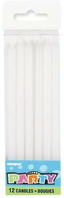 Tall White Candles Pack Of 12 Birthday Party Supplies Cake Topper
