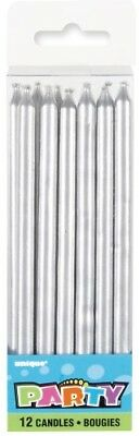 Tall Silver Candles Pack Of 12 Birthday Party Supplies Cake Topper