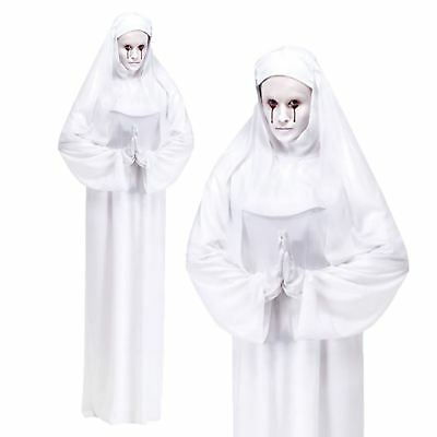Ladies Halloween White Ghost Scary Mary Mother Superior Nun Fancy Dress Costume