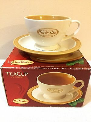 Tim Horton's Teacup & Saucer Porcelain Ceramic Beige Trim in Original Box CIB