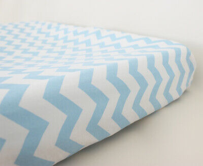 GOOSEBERRY Fitted Change Table Mat Pad Cover Cotton Chevron Mint