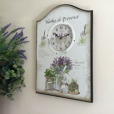 Large French Vintage Style Wall Clock Wooden Wall Plaque Shabby Chic Kitchen