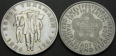 GERMANY (East) 10 Mark 1973/1986 - Thalmann/Youth Games - 2 coins - 1690 ¤