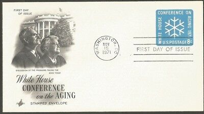 Us Fdc 1971 White House Conference On The Aging 8C Embossed Stamped Envelope